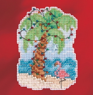 Mill Hill Winter Holiday collection Christmas Palm MH18-1733 Beaded Ornament counted cross stitch kit with treasure