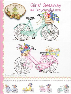 Crabapple Hill Studio Bicycles Lace hand embroidery pattern