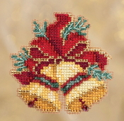 Mill Hill Winter Holiday collection Christmas Bells MH18-1835 Ornament counted cross stitch kit with treasures