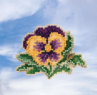 Mill Hill Spring Bouquet collection Tricolor Pansy counted cross stitch ornament kit