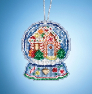 Mill Hill Gingerbread House Globe MH16-1932 Ornament counted cross stitch kit with Charm