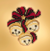 Mill Hill Winter Holiday collection Jingle Bell Trio MH18-1933 Ornament counted cross stitch kit with treasure