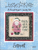 Lizzie Kate Snippet A Good Night Santa Christmas Counted cross stitch pattern, chart