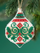 Mill Hill Beaded Holiday Emerald Flourish MH21-1911 Ornament counted cross stitch kit