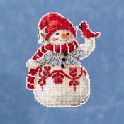 Jim Shore by Mill Hill - Snowman with Cardinal JS20-1914 Christmas Ornament beaded counted cross stitch kit