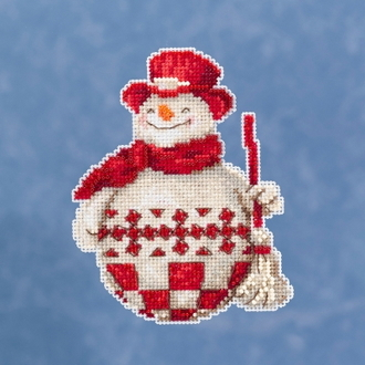 Jim Shore by Mill Hill - Nordic Snowman JS20-1916 Christmas Ornament beaded counted cross stitch kit