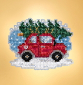 Mill Hill Winter Holiday collection Tree Shopping MH18-1931 Ornament counted cross stitch kit with treasure