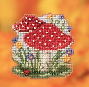 Mill Hill Autumn Harvest collection Red Cap Mushrooms counted cross stitch ornament kit