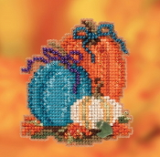 Mill Hill Autumn Harvest collection Pumpkin Trio counted cross stitch ornament kit