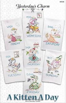 Yesterday's Charm A Kitten A Day iron-on embroidery transfers, designs, patterns