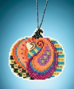 Mill Hill Painted Pumpkins charmed ornaments Persian Pumpkin counted cross stitch ornament kit