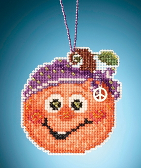 Mill Hill Painted Pumpkins charmed ornaments Hippie Pumpkin counted cross stitch ornament kit