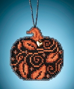 Mill Hill Painted Pumpkins charmed ornaments Glowing Pumpkin counted cross stitch ornament kit