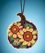 Mill Hill Painted Pumpkins charmed ornaments Sunflower Pumpkin counted cross stitch ornament kit