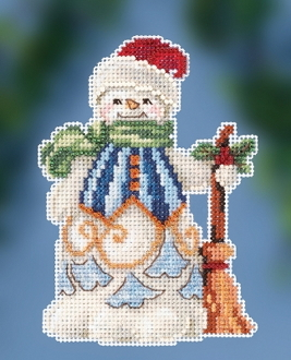 Jim Shore by Mill Hill - Clean Sweep Snowman JS20-2013 Christmas Ornament beaded counted cross stitch kit