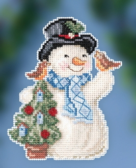 Jim Shore by Mill Hill - Feathered Friends Snowman JS20-2012 Christmas Ornament beaded counted cross stitch kit