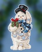 Jim Shore by Mill Hill - Gift Giving Snowman JS20-2011 Christmas Ornament beaded counted cross stitch kit