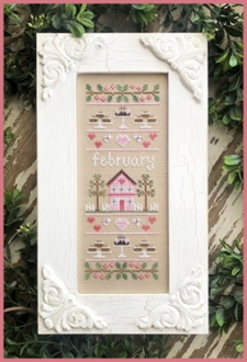 Country Cottage Needleworks February Sampler Counted cross stitch pattern chart