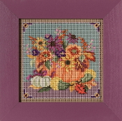 Mill Hill Autumn Series Floral Pumpkin beaded counted cross stitch kit
