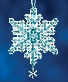 Mill Hill Aqua Crystal Christmas Ornament Beaded Counted cross stitch kit