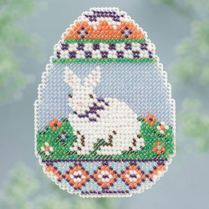 Mill Hill Spring Bouquet Collection, Bunny Egg Easter beaded counted cross stitch ornament kit